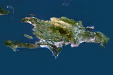 Satellite Image of Haiti and Dominican Republic Photographic Print