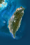 Satellite Image of Taiwan Photographic Print