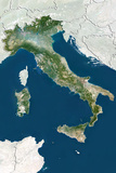 Italy, True Colour Satellite Image with Border and Mask Photographic Print