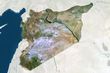 Syria, True Colour Satellite Image with Border and Mask Photographic Print