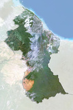 Guyana, Satellite Image with Bump Effect, with Border and Mask Photographic Print