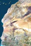 Mauritania, True Colour Satellite Image with Border Fotografisk tryk