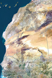 Mauritania, True Colour Satellite Image with Border Photographic Print