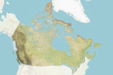 Canada, Relief Map with Border and Mask Photographic Print
