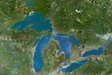 Satellite Image of Great Lakes, North America Photographic Print