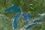 Satellite Image of Great Lakes, North America Photographic Print