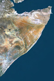 Somalia, True Colour Satellite Image with Border Fotografisk tryk