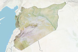 Syria, Relief Map with Border and Mask Photographic Print