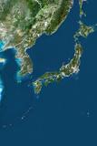 Japan, True Colour Satellite Image with Border Photographic Print