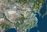 China, True Colour Satellite Image with Border Photographic Print