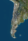 Chile, True Colour Satellite Image with Border Photographic Print