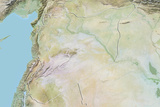 Syria, Relief Map with Border Photographic Print