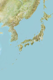 Japan, Relief Map with Border Photographic Print