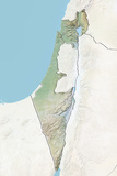 Israel, Relief Map with Border and Mask Photographic Print