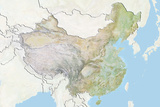 China, Relief Map with Border and Mask Photographic Print