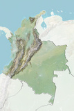 Colombia, Relief Map with Border and Mask Photographic Print