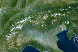 Satellite Image of the Alps, Europe Photographic Print