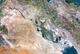 Iraq, True Colour Satellite Image with Border Photographic Print