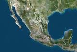Mexico, True Colour Satellite Image with Border Photographic Print