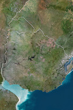 Uruguay, True Colour Satellite Image with Border Photographic Print