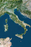 Italy, True Colour Satellite Image with Border Photographic Print