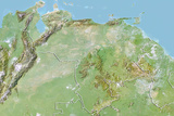 Venezuela, Relief Map with Border Photographic Print