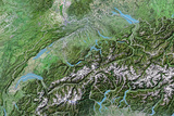 Switzerland, Satellite Image with Bump Effect, with Border Photographic Print