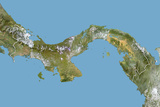 Panama, Satellite Image with Bump Effect, with Border Photographic Print