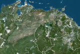 Venezuela, True Colour Satellite Image with Border Photographic Print