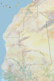 Mauritania, Relief Map with Border Fotografisk tryk