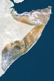 Somalia, True Colour Satellite Image with Border and Mask Fotografisk tryk