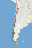 Chile, Satellite Image with Bump Effect, with Border and Mask Photographic Print