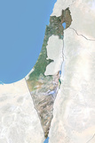 Israel, Satellite Image with Bump Effect, with Border and Mask Photographic Print