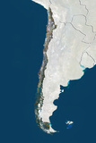Chile, True Colour Satellite Image with Border and Mask Photographic Print