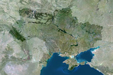 Satellite Image of Ukraine Photographic Print