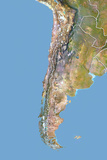 Chile, Satellite Image with Bump Effect, with Border Photographic Print