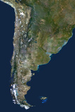 Satellite Image of Chile and Argentina Lámina fotográfica