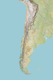 Chile, Relief Map with Border Photographic Print