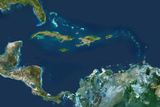 Satellite Image of Caribbean Islands Reprodukcja zdjęcia