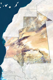 Mauritania, True Colour Satellite Image with Border and Mask Fotografisk tryk