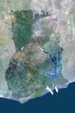Satellite Image of Ghana Photographic Print