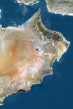 Oman, True Colour Satellite Image with Border Photographic Print