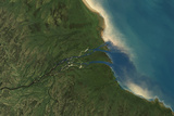Satellite Image of Albany River Delta, Canada Photographic Print