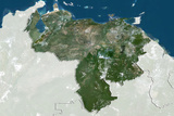 Venezuela, True Colour Satellite Image with Border and Mask Photographic Print