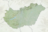 Hungary, Relief Map with Border and Mask Photographic Print