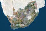 South Africa, True Colour Satellite Image with Border and Mask Lámina fotográfica