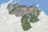 Venezuela, Satellite Image with Bump Effect, with Border and Mask Photographic Print