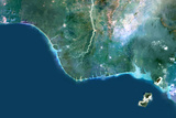 Satellite Image of Niger River Delta, Nigeria Photographic Print