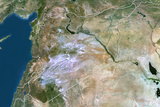 Syria, True Colour Satellite Image with Border Photographic Print