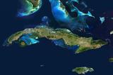 Satellite Image of Cuba Photographic Print